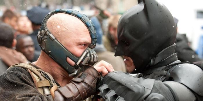 "Tom Hardy is Bane, the muscled villain of ""The Dark Knight Rises"""