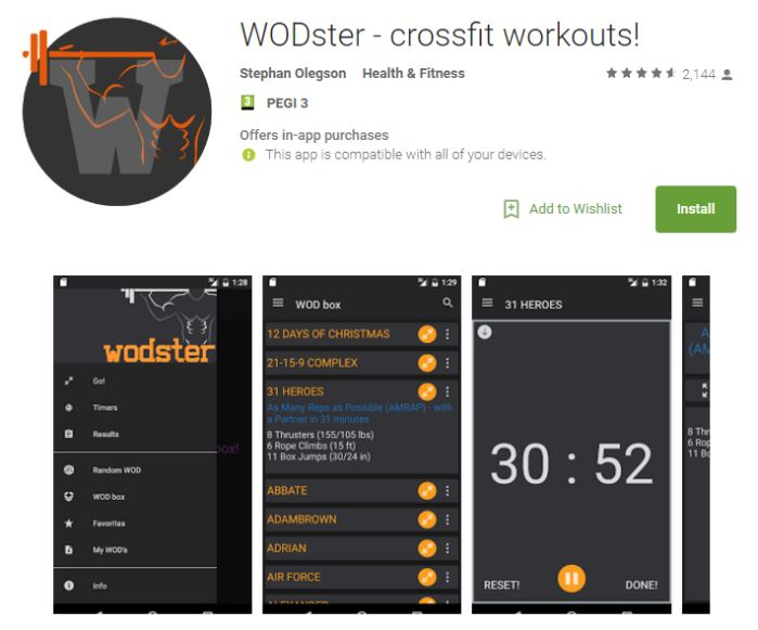 WODster is one of the best rated CrossFit apps